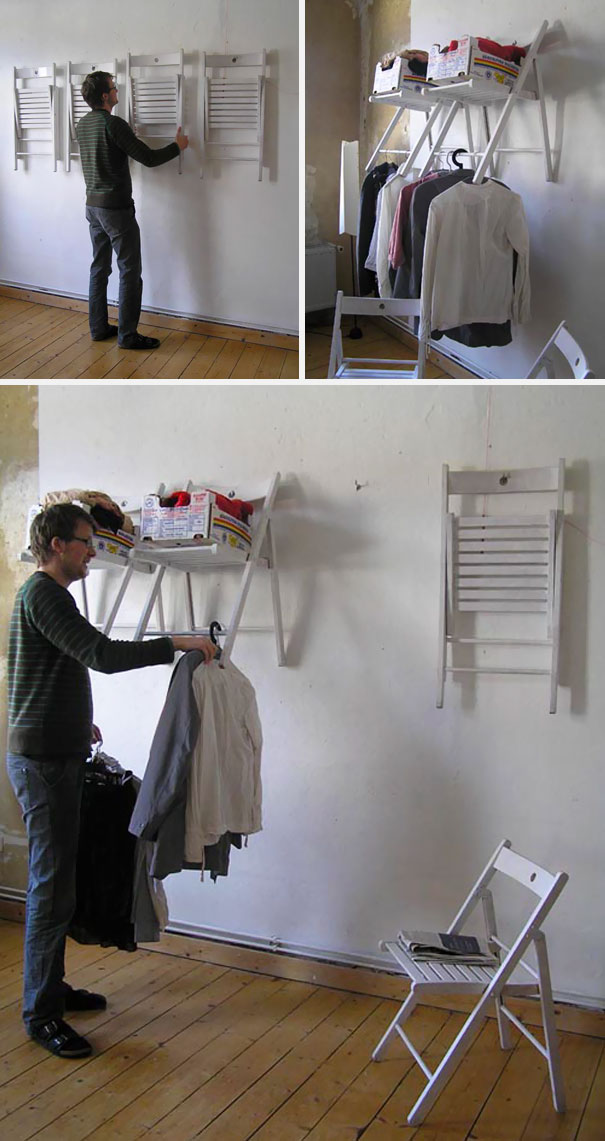 You Can Turn Your Redundand Chairs Into A Shelf/Closet Unit