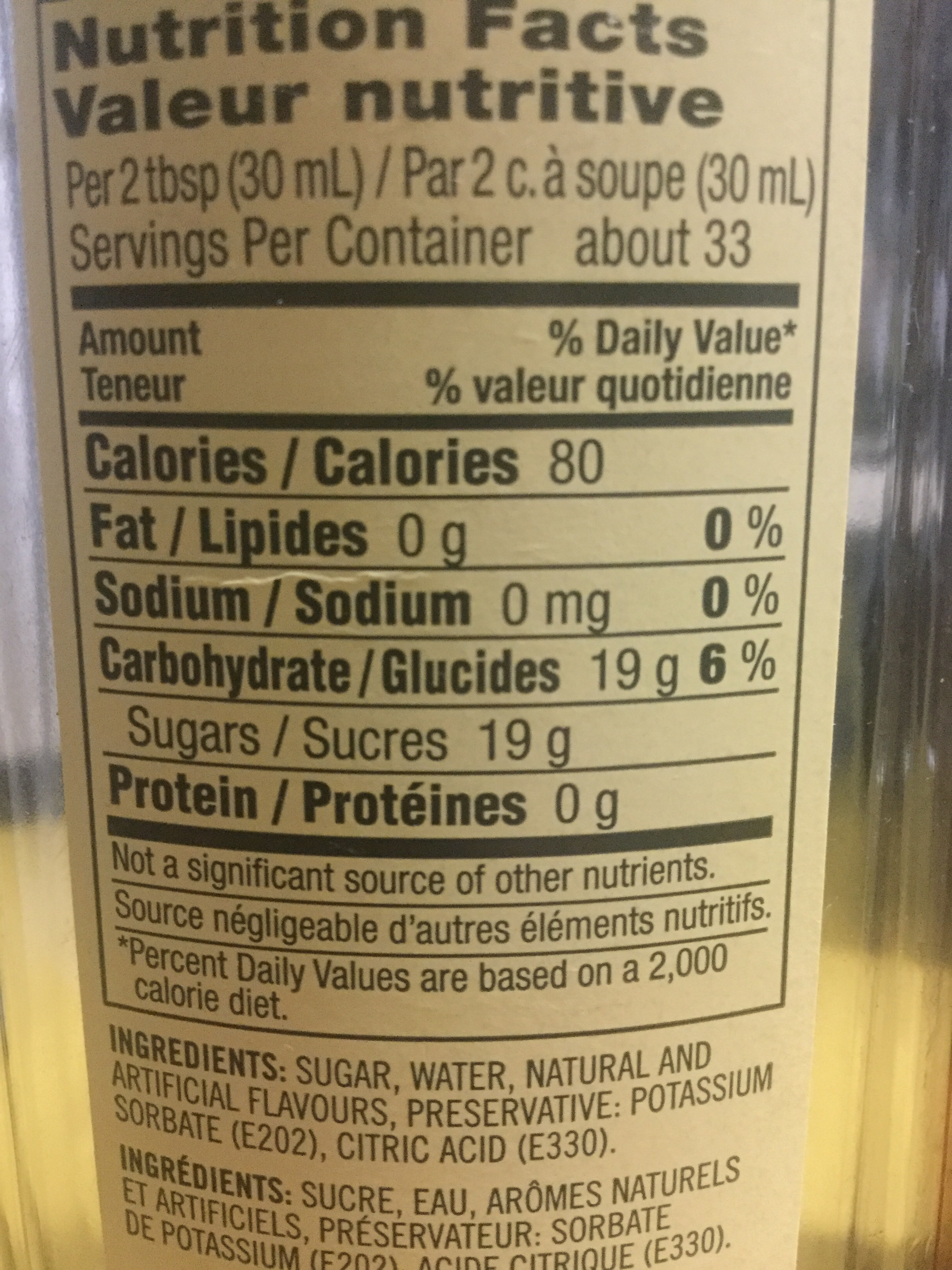 Syrup nutrition? - starbucks