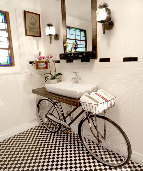 You Can Turn Your Old Bicycle Into A Sink Stand
